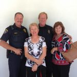From L to R: Officer John Leinding, Sargent Schnell, Candy Elson, and Marla Kingkade