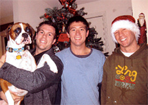 Candy's sons Ben, Dan, and Josh and dog Zoey