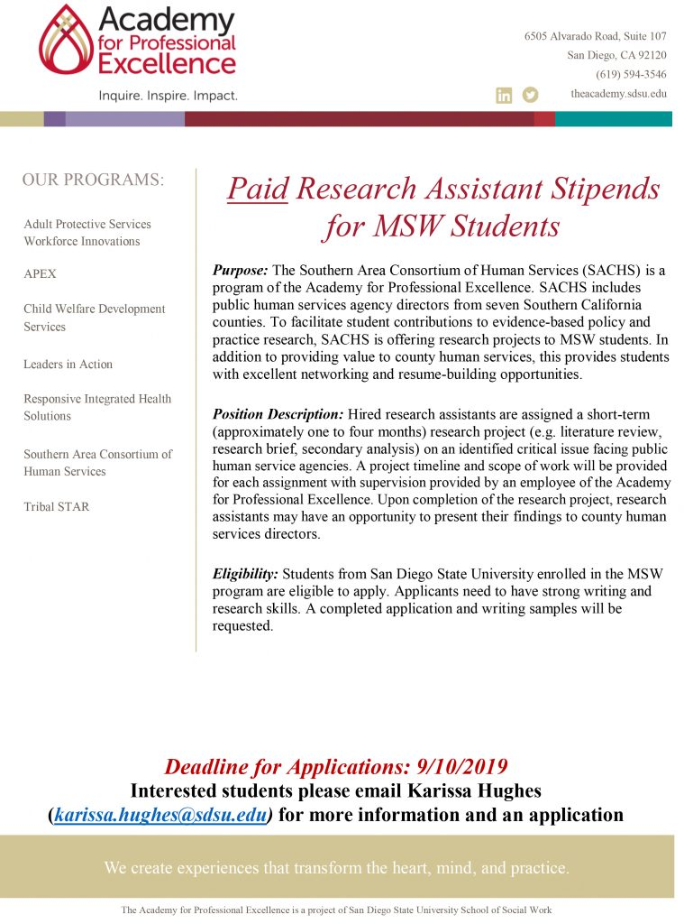 paid research assistant stipends for MSW students