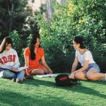 SDSU students on the Scripps Cottage lawn